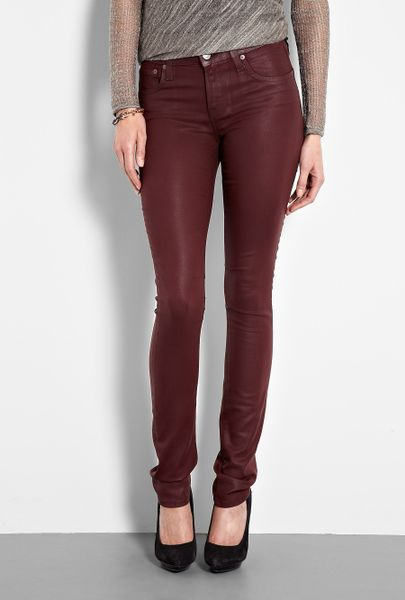 Helmut Lang Gloss Wash 5 Pocket Skinny Jeans in Red - Lyst