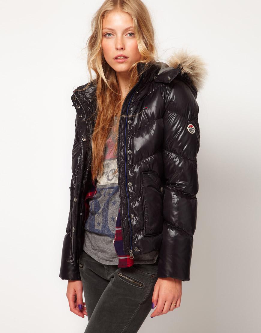 Hilfiger denim Padded Coat with Faux Fur Edged Hood in Black | Lyst