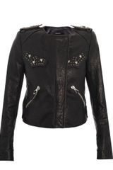Isabel Marant Edris Studded Leather Jacket - Lyst