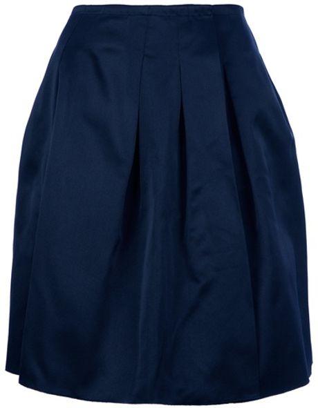 jil sander navy pleated skirt in blue lyst