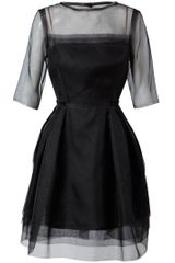 Lanvin Layered Silk Organdy Dress in Black - Lyst