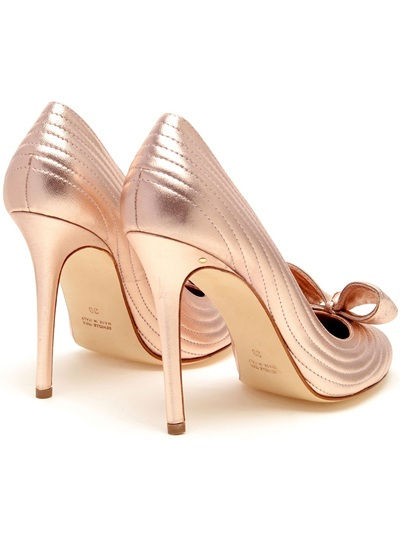 Shoeniverse: Laurence Dacade blush pink ribbed leather bow pumps
