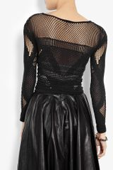 Mcq By Alexander Mcqueen Black Mesh Long Sleeve Top in Black - Lyst