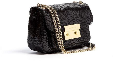Michael Michael Kors Black Patent Python Small Sloan Shoulder Flap Bag 49