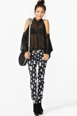 Nasty Gal Open Shoulder Blouse Black in Black - Lyst