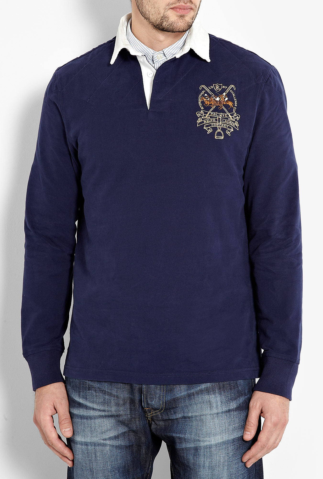Polo Ralph Lauren Navy Polo Club Rugby Shirt In Blue For