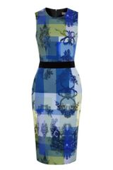 Preen Willow Multicoloured Stretch Cotton Pencil Dress in Blue (multicoloured) - Lyst