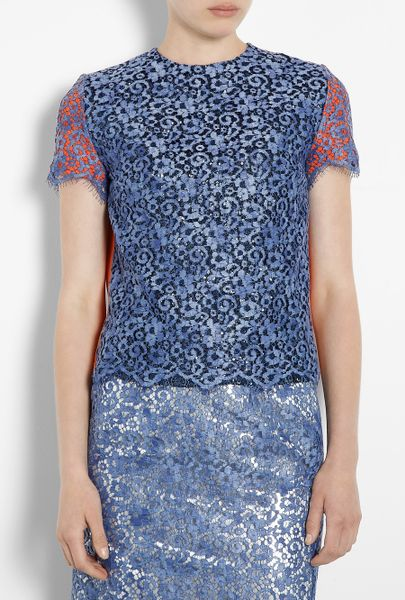 Preen Enid Lace Overlay Metallic Tee in Orange - Lyst