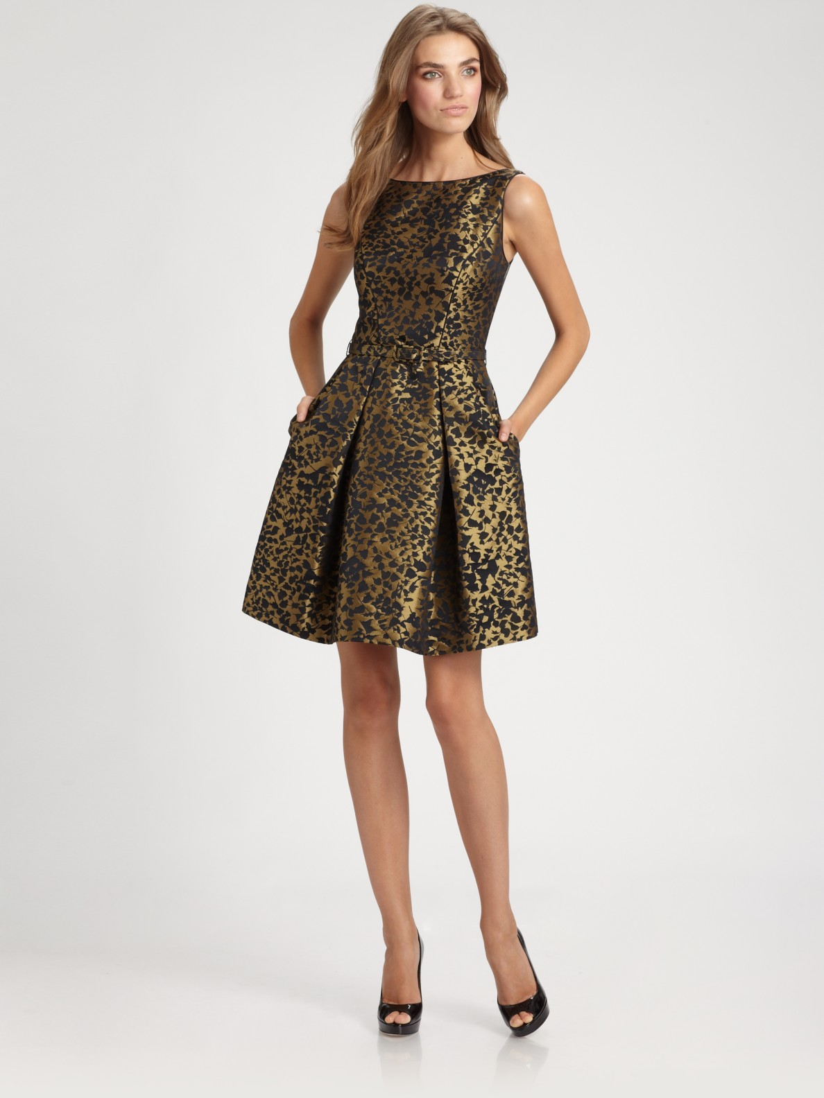 Lyst Theia Brocade Dress In Metallic