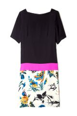 Tibi Printed Hem Silk Tshirt Dress in Black - Lyst