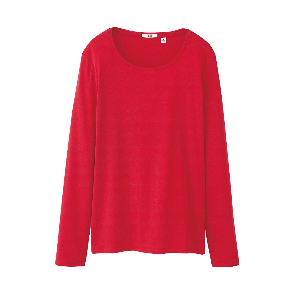 Uniqlo women premium cotton crew neck long sleeve tshirt for Uniqlo premium t shirt
