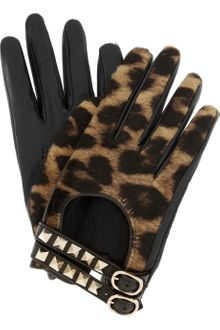 Valentino Rockstud Leather and Calf Hair Gloves - Lyst