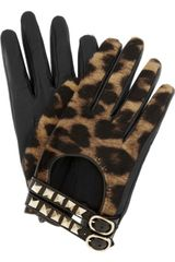 Valentino Rockstud Leather and Calf Hair Gloves in Black - Lyst
