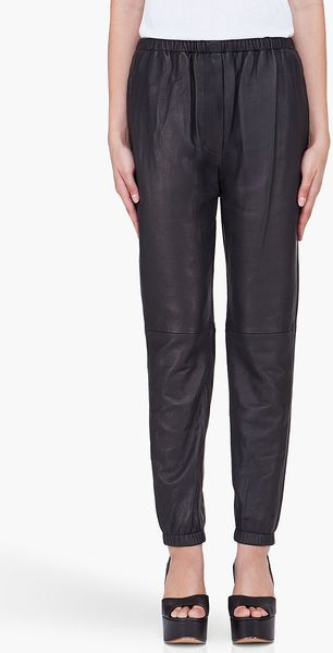 3.1 Phillip Lim Black Leather Lounge Pants - Lyst