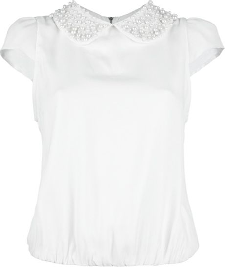 Alice + Olivia Embellished Blouse in White - Lyst