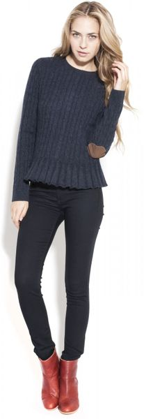 Autumn Cashmere Cable Button Back Sweater in Blue - Lyst