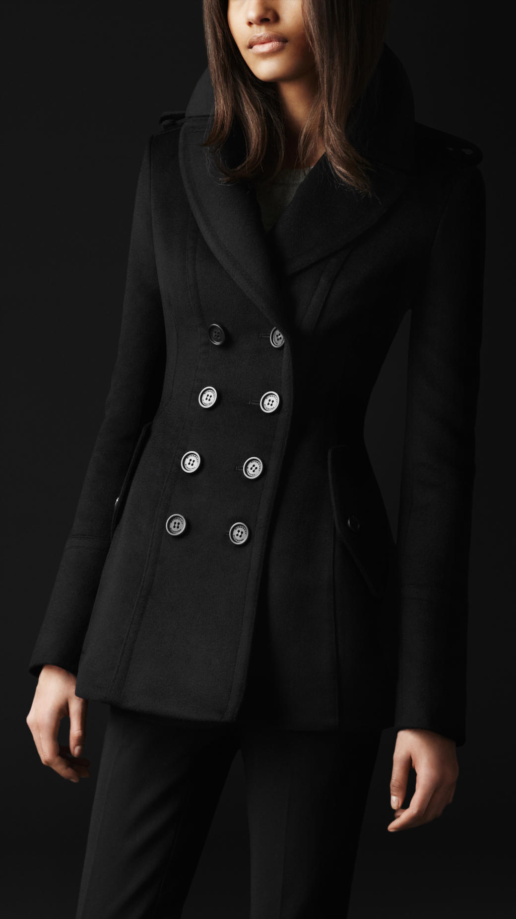 Burberry prorsum Wool Cashmere Tailored Coat in Black | Lyst