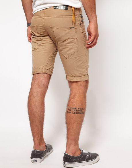 g star raw gstar shorts loose tapered in beige for men lyst. Black Bedroom Furniture Sets. Home Design Ideas