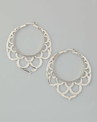 John Hardy Naga Silver Lace Hoop Earrings - Lyst