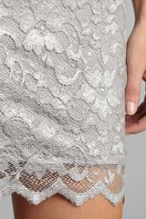 John Zack Long Sleeve Metallic Lace Dress in Gray (silver) - Lyst