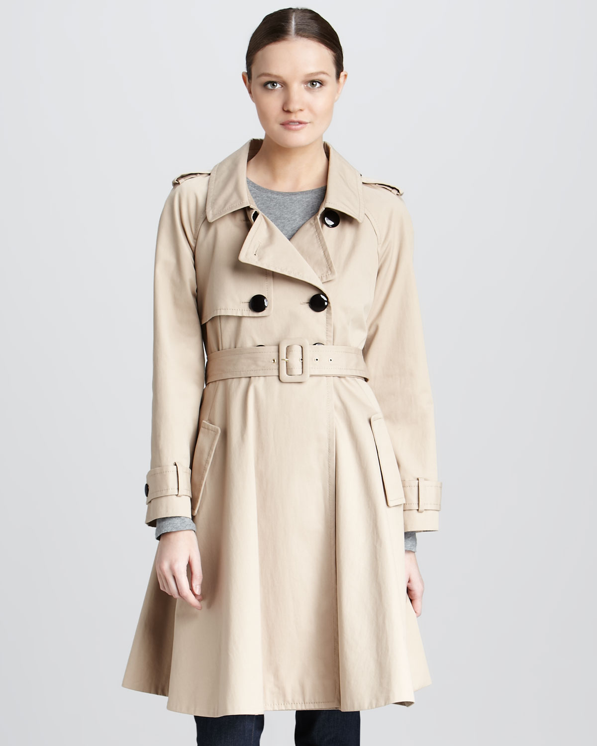 532ec4442a4c Lyst - Kate Spade Dianne Flared Cotton Trench Coat in Natural