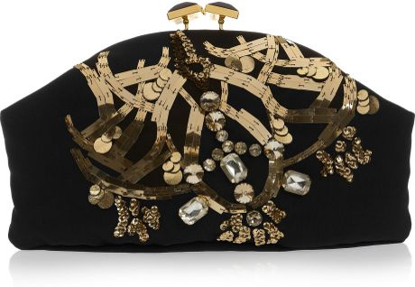Marni Jewel and Horn Embellished Clutch in Black