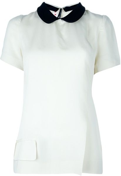 Marni Peter Pan Collar Blouse in White - Lyst