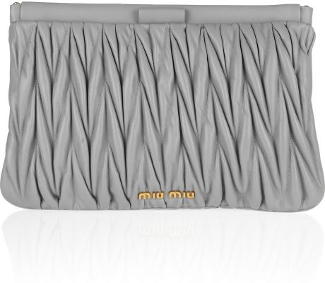 Miu Miu Matelassé Leather Clutch in Gray - Lyst