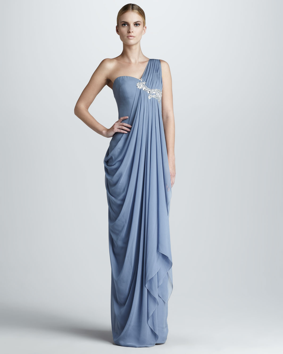 Lyst - Notte By Marchesa Embroidered Draped Gown in Blue