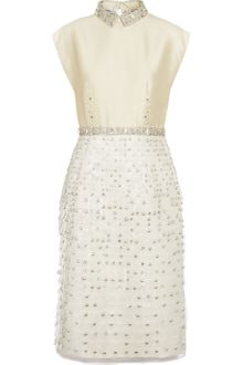 Philosophy di Alberta Ferretti Embellished Twill and Silkorganza Dress - Lyst