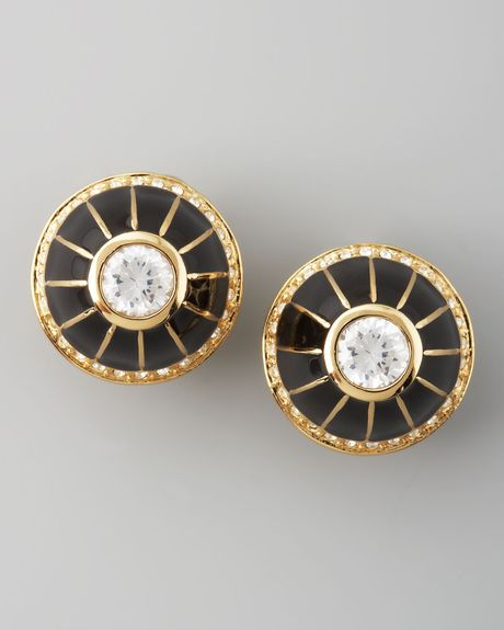 Rachel Zoe Pave Clip Earrings  in Black - Lyst