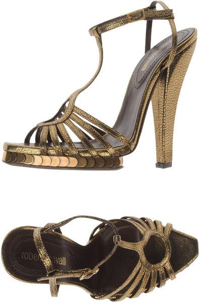 Roberto Cavalli Platform Sandals in Gold - Lyst