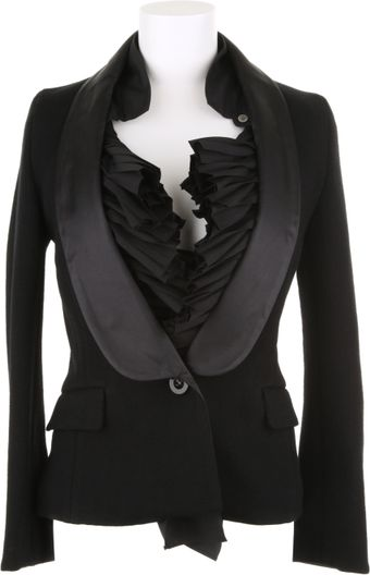 Sacai Black Tuxedo Jacket with White Faux Pleated Shirt in Wool and Cotton - Lyst