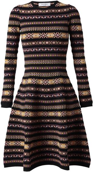Valentino Abstract Argyle Knitted Dress - Lyst