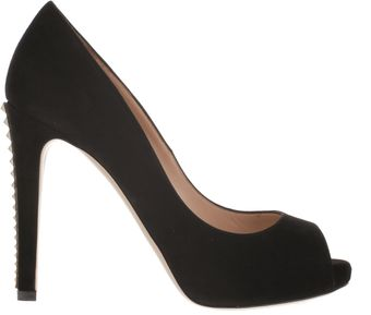 Valentino Open Toe Pumps in Black Soft Suede - Lyst