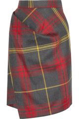 Vivienne Westwood Anglomania New Accident Checked Wool Skirt - Lyst
