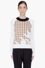 3.1 Phillip Lim Cream Wool Houndstooth Sweater - Lyst
