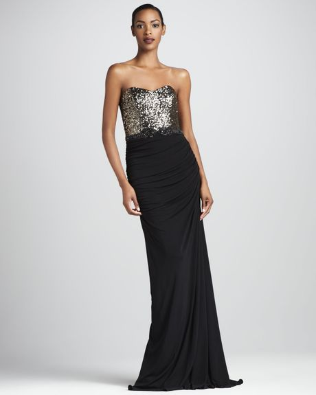 Badgley Mischka Sequined Jersey Gown in Black (black gold) - Lyst