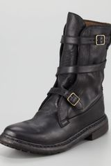 Burberry Strapped Flat Motorcycle Boot - Lyst