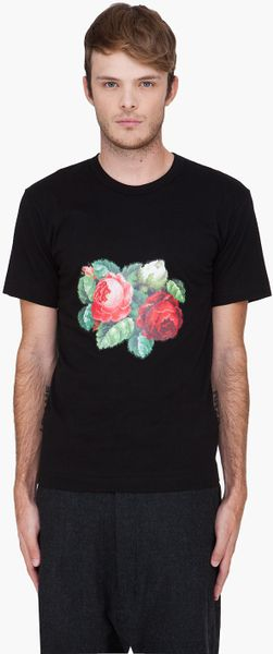 Comme Des Garçons  Flower Print Jersey Tshirt in Black for Men - Lyst