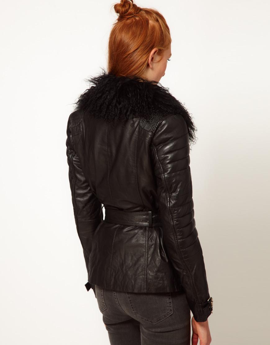 black suedette faux fur collar aviator jacket
