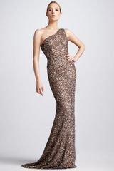 Theia Beaded Oneshoulder Gown - Lyst
