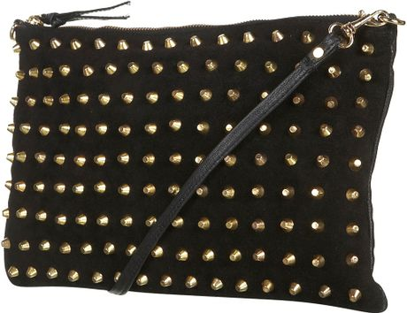 Topshop Gold Stud Suede Clutch in Black - Lyst
