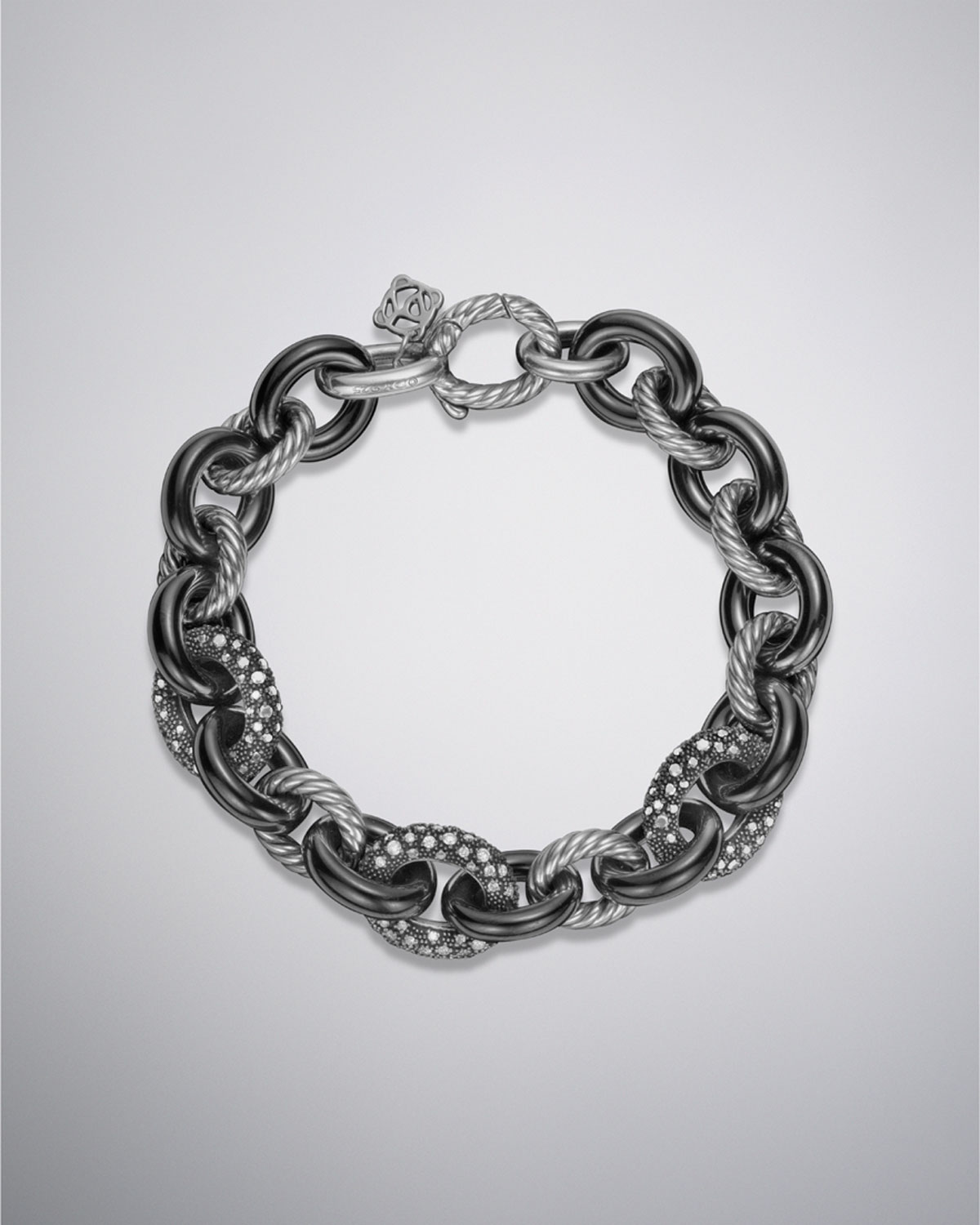David yurman midnight melange oval link bracelet in silver for David yurman like bracelets