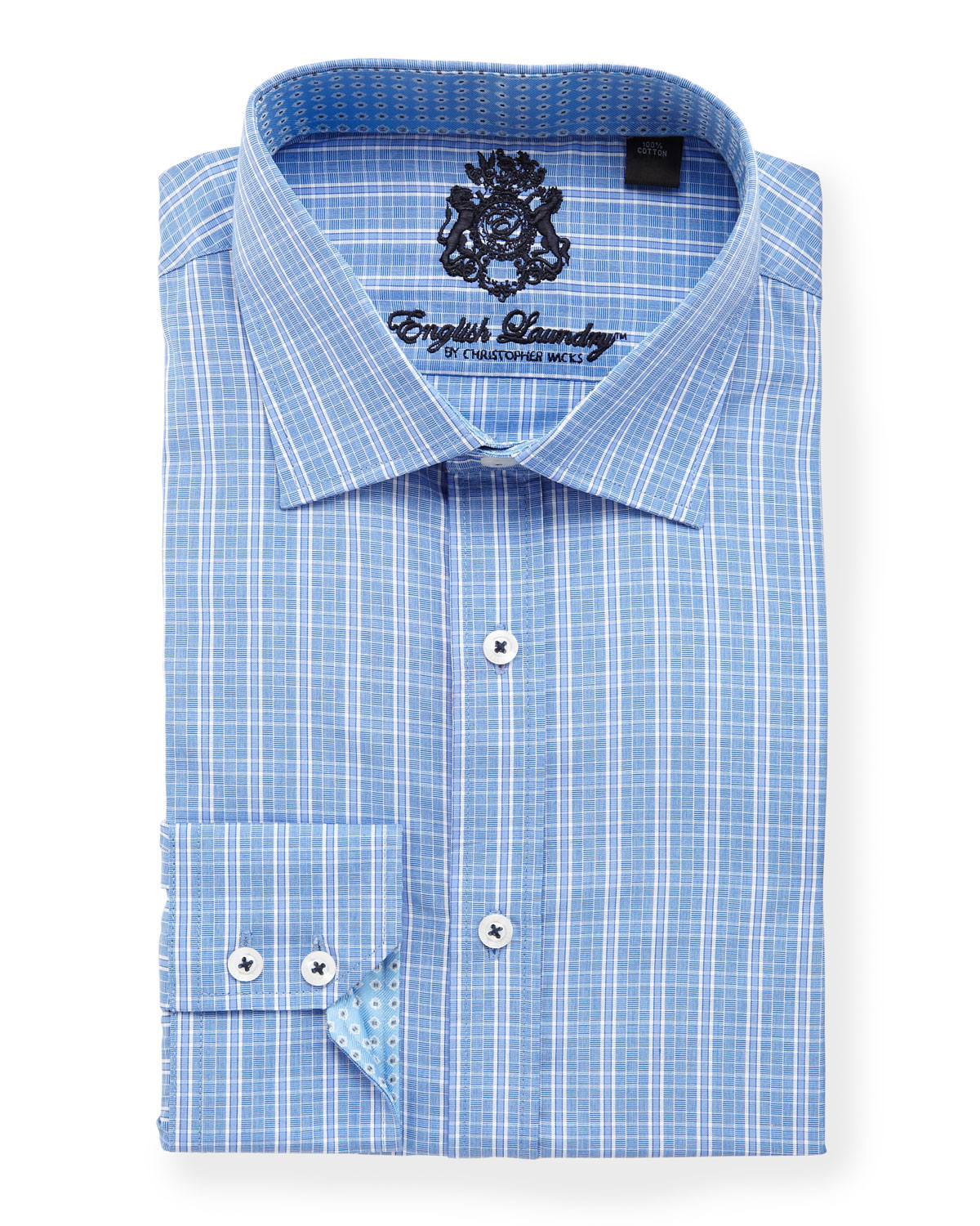 English Laundry Plaid Dress Shirt Blue In Blue For Men Lyst