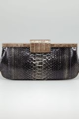 Nancy Gonzalez Crocodileframed Python Clutch Bag - Lyst