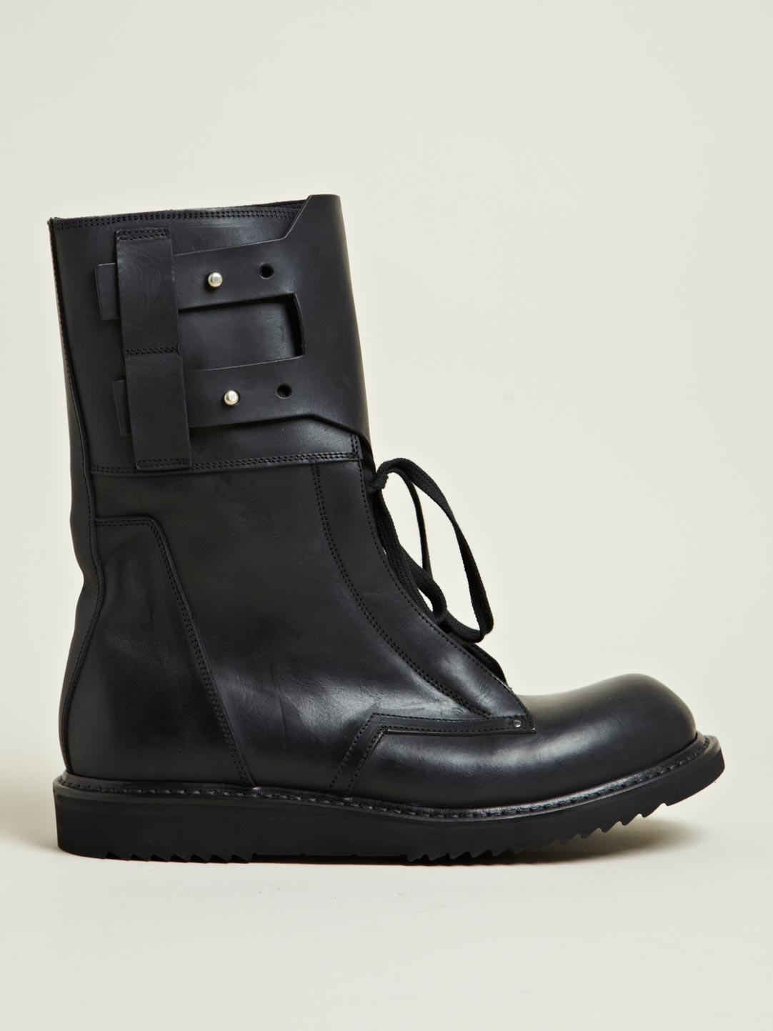 Rick Owens Mens Leather Military Boots In Black For Men Lyst