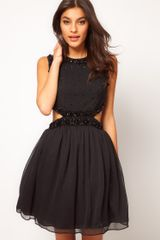 Asos Collection Embellished Party Dress with Cut Outs in Beige (black) - Lyst