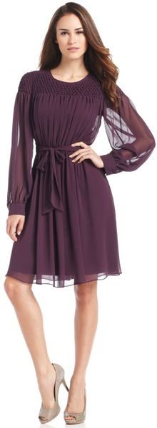 Calvin Klein Long Sleeve Belted Puckered in Purple - Lyst