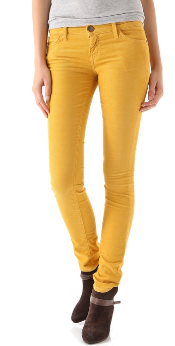 Current/elliott The Skinny Corduroy Pants in Yellow | Lyst